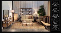 Ambiente de salón loft-industrial con muebles de madera y hierro, de venta en Original House. Muebles que encontrarás en nuestro catálogo web hasta fin de existencias. http://www.originalhouse.info/