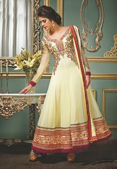 Light Yellow Faux Georgette Abaya Style Churidar Kameez @ $137.01