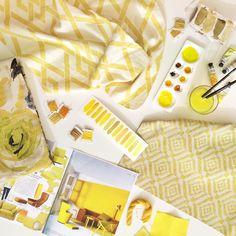 Warwick Fabrics // Sunshine Yellow Flat Lay // featuring fabrics: Akira, Andora and Ludo