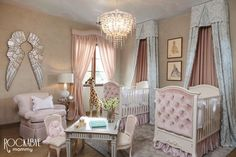 Pink Twin Nursery with Silver Angel Wings - Project Nursery