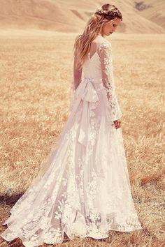 Unusual A-line Jewel Sweep/Brush Train Lace Fabric Boho Wedding Dress with Sash Style WD610107007ZY