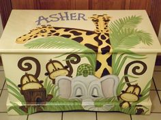 Jungle Toy Chest custom designed with a soft yellow background done with Monogram or Name, kids furniture, art and decor, wooden toy box Wooden Toy Boxes, Pink Hair Bows, Jungle Animals, Yellow Background, Kids Furniture, Painted Furniture, Kid Beds, Toy Chest, Custom Design