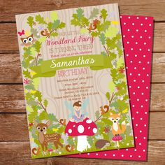 Enchanted Forest Party Theme Ideas for Kids' Birthday Fairy Party Invitations, Birthday Invitations, Invitation Set, Woodland Fairy, Forest Fairy, Album Design, Fairy Birthday Party, Birthday Ideas, 5th Birthday