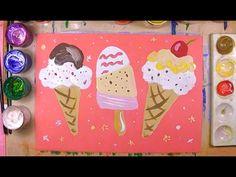 Как нарисовать мороженое - урок рисования для детей 4-12 лет. Дети рисуют десерт, сладости поэтапно - YouTube