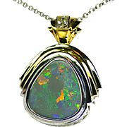 Ladies Solid 9.45 Carat Opal Pendant set in Sterling Silver/18K Yellow Gold with Diamond Accent
