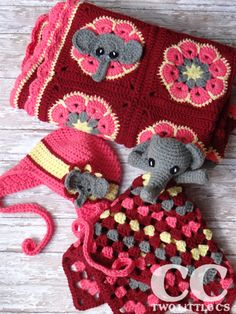 Vibrant red crochet baby set - african flowers blankie with elephants, hat, and granny style lovey - Two Little C's: Elephant Square Free Pattern Crochet Lovey, Crochet Motifs, Manta Crochet, Crochet Squares, Love Crochet, Crochet Granny, Baby Blanket Crochet, Crochet Patterns, Granny Squares