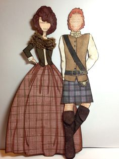 Finally Clair has her Jamie. Made from Prima paper doll stamp 'Adam' by Julie Nutting. Printed his kilt from the Outlander site.