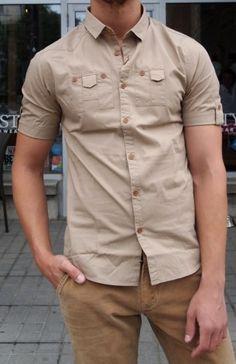 United Kingdom of Luke beige shirt $110 at Gotstyle Menswear.