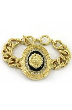 Lion Oval Bracelet Black by ROIAL