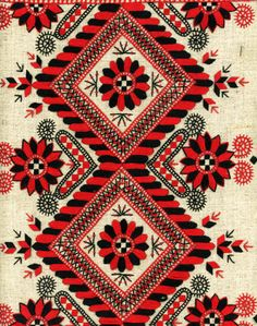 Folk Embroidery Patterns I really like how Hungarian embroidery is more organic in shape and design. I like the way this works when it's rooted in a geometric and symmetrical framework, like this one. Textiles, Textile Patterns, Textile Design, Color Patterns, Print Patterns, Geometric Patterns, Russian Embroidery, Folk Embroidery, Embroidery Patterns