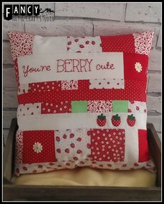 """patchwork """"BERRY"""" cushion with hand embroidery"""