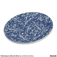 #christmas #xmas #elegant #modern #blue #silver #swirls #paperplate #partysets in lots of different products & designs. Check more at www.zazzle.com/celebrationideas
