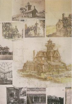 "Sketches for the house and greenhouse ideas for the movie ""practical magic""."