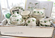 This has been a quiet week, and I'm starting to think about Spring and Green and needing a change from the cold and dreary February weather. China Cabinets And Hutches, Vintage Seed Packets, Wooden Crates, Wine Crates, Small Bouquet, Vintage Dishes, Vintage Kitchen, Vintage Easter, Seasonal Decor