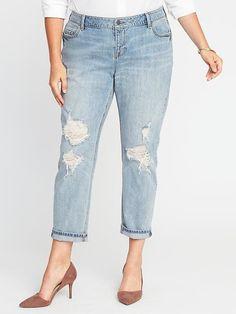 Plus-Size Boyfriend Straight Jeans
