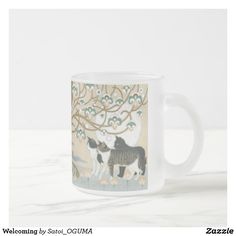 <Welcoming> Lovely cats under the tree of life Frosted Glass Coffee Mug by Satoi Oguma.
