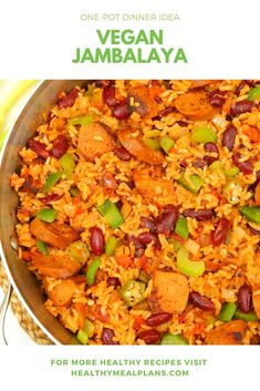 This incredible Jambalaya features classic cajun flavors and is loaded with protein and fiber thanks to black beans and tofu sausage! This recipe will store beautifully in the fridge for 5 days so it is a great option for Sunday meal prep! Veggie Meals, Veggie Recipes, Cooking Recipes, Vegetarian Soups, Tasty Vegetarian Recipes, Healthy Recipes, Vegan Jambalaya, Sunday Meal Prep, Vegetarische Rezepte