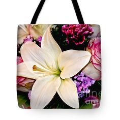 "Center Lily Tote Bag by Flamingo Graphix John Ellis (18"" x 18"").  The tote bag is machine washable, available in three different sizes, and includes a black strap for easy carrying on your shoulder.  All totes are available for worldwide shipping and include a money-back guarantee."