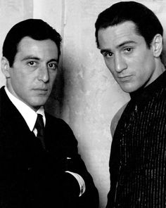 Al Pacino as Michael Corleone and Robert De Niro as Vito Corleone in The Godfather Part II, Academy Awards; Nominated, Best Actor in a Leading Role, Al Pacino. Best Actor in a Supporting Role Robert De Niro. Hollywood Stars, Classic Hollywood, Old Hollywood, Kino Movie, Don Corleone, Tv Star, Photos Rares, Actrices Hollywood, Marlon Brando