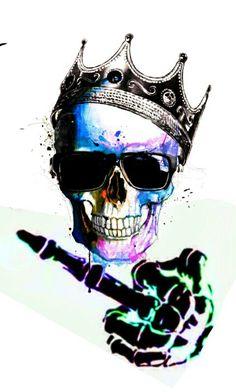 Crowned King Skulls Showing Middle Finger (Fuck You) Dark Fantasy Art, Dark Art, Crane, Crown Drawing, Fire Image, Totenkopf Tattoos, Skull Pictures, Skull Artwork, Skull Wallpaper