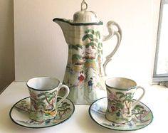 Nippon Cocoa Set | Vintage Nippon Porcelain Chocolate Pot & Cups Set Made in Japan Geisha ...