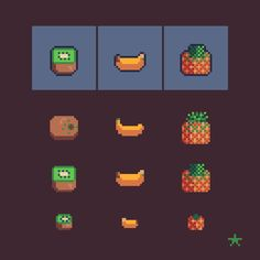 Kiwi  banana  pineapple    #pixelart #retro #design #illustrations #fruits #pixelartfruits #iconsset #8bit #16x16 #gamedev