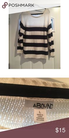 Striped Sweater Navy Blue and Off White Striped Sweater from Nordstrom Rack Sweaters Crew & Scoop Necks