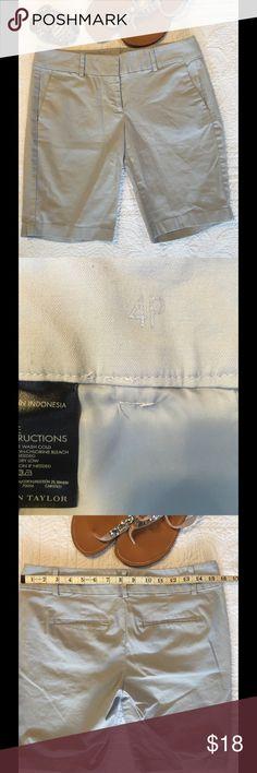 Women's shorts Ann Taylor Gray Bermuda length. Front slash pockets, standard easy fit. Smallish fitting for a 4P. Ann Taylor Shorts
