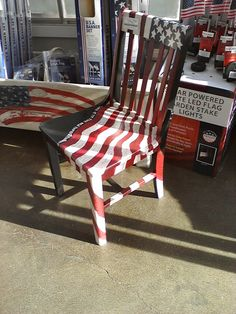 Painted flag draped chair