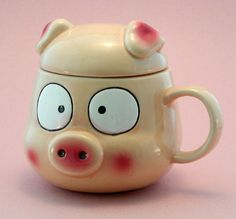 Piggy-Shaped Piggy Mug with Lid