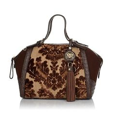 """Sharif """"Versailles"""" Tapestry and Leather Satchel"""