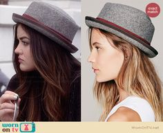 Aria's grey bowler hat on Pretty Little Liars.  Outfit Details: http://wornontv.net/34216/ #PLL