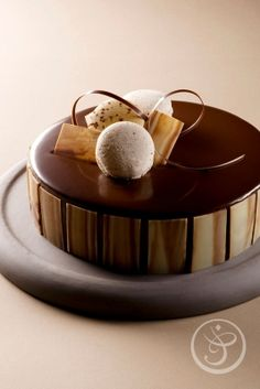 Chocolate cake with macarons and w hite chocolate mousse Elegant Desserts, Fancy Desserts, Just Desserts, Delicious Desserts, Dessert Recipes, French Pastry School, Patisserie Fine, French Patisserie, Decoration Patisserie