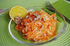 Chefkoch.de Rezept: Möhren - Apfel - Salat mit Orangendressing und Walnüsse