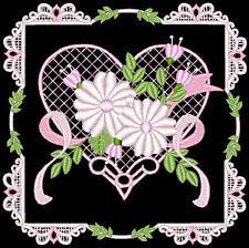 Victorian Embroidery Designs flowers | LOVE, HEARTS AND FLOWERS - 24 MACHINE EMBROIDERY DESIGNS (AZEB)
