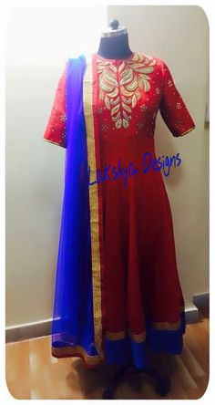 Red and blue combination Anarkali!!