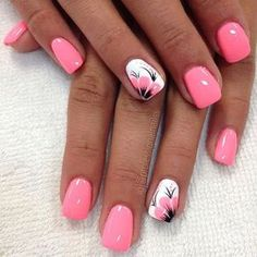 uñas rosa y blanco flor color rosa