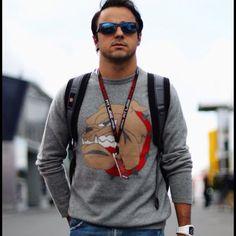 Felipe Massa arriving at the circuit - 2013 German GP FP1