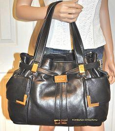 abbd66ee5dce Michael Kors Bag Black Beverly Leather Drawstring Satchel Purse Tote # MichaelKors #SatchelToteBag Satchel Purse