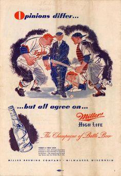 Vintage Miller High Life Baseball Ad