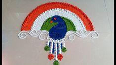 Indian Rangoli Designs, Simple Rangoli Designs Images, Colorful Rangoli Designs, Rangoli Ideas, Kolam Designs, Easy Rangoli, Independence Day India Images, Alpona Design, Peacock Images