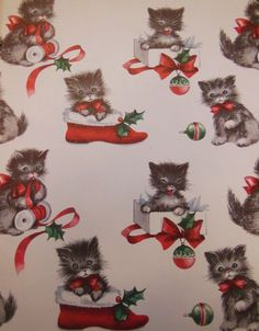 hallmark wrapping paper kittens in shoes vintage wrap hallmark christmas wrapping paper clearance Cat Christmas Cards, Christmas Kitten, Christmas Scenes, Christmas Paper, Vintage Christmas Wrapping Paper, Gift Wrapping Paper, Christmas Gift Wrapping, Wrapping Papers, Vintage Pink Christmas