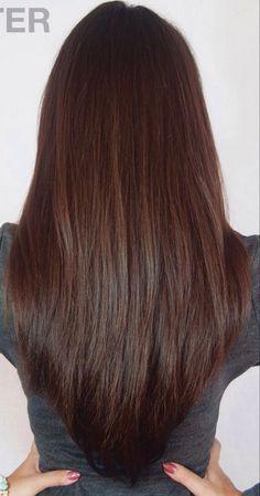 Long Layered V Cut Haircut V Cut Haircut, U Cut Hairstyle, V Shaped Haircut, Haircut For Thick Hair, Haircut Styles, Step Cut Haircuts, 2017 Hairstyle, Fall Hair Color For Brunettes, Brown Hair Colors