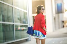Summer colors :: Red blazer & Blue prints :: Outfit :: Top :: Tinley Road blazer, Clover Canyon top Bottom :: Theory Bag :: Celine Shoes :: Dumond Accessories :: Karen Walker sunglasses, Cartier watch, Wendy's Lookbook X Tacori Promise Bracelet Published: July 21, 2014
