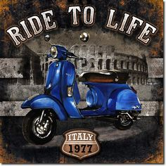 Motorbike 01 Ride to Life Poster Print by Bresso Sola Vintage Diy, Decoupage Vintage, Decoupage Paper, Vintage Labels, Vintage Metal, Vintage Signs, Vintage Cars, Vintage Pictures, Vintage Images
