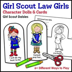 Girl Scout Law Girls: Character Dolls & Cards - Girl Scout Daisies - Daisies enjoy fun games and activities with this super cute set of Daisy-themed character dolls and cards that help them learn and recite The Girl Scout Law during troop meetings, campouts, and other Girl Scout events. The cards may also be assembled into mini coloring...
