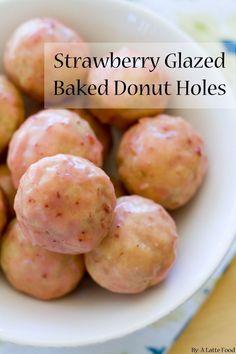 Strawberry Glazed Baked Donut Holes