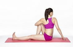 The seated twist is said to be extremely relaxing and can be done with a cushion under the...