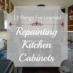 13 Things I've Learned Repainting Kitchen Cabinets I'm halfway through painting my kitchen cabinets, and I thought I'd take a little break to update you and share a few things I've learned along the way. Repainting Kitchen Cabinets, Dark Kitchen Cabinets, Kitchen Paint, Kitchen Redo, Kitchen Remodel, Furniture Update, Kitchen Cabinet Organization, Thing 1, Cabinet Makeover