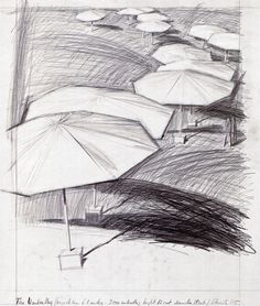"""Christo The Umbrellas (Project for 6-8 Miles - 3.000 Umbrellas; Hight 12 Feet Diameter 18 Feet) Collage 1985 30 1/2 x 26 1/4"""" (77.5 x 66.7 cm) Pencil and fabric"""
